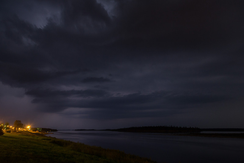 Thunderstorms to the north of Moosonee.
