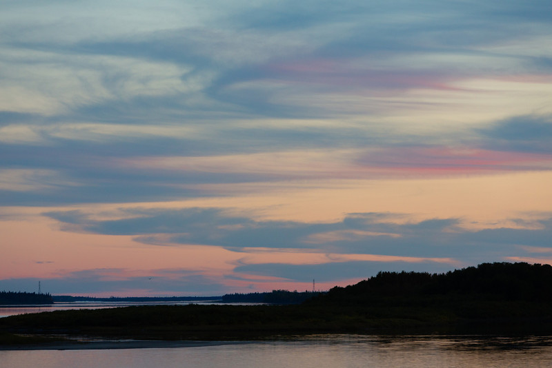 Looking up the Moose River from Moosonee after sunset. Bird up the river.