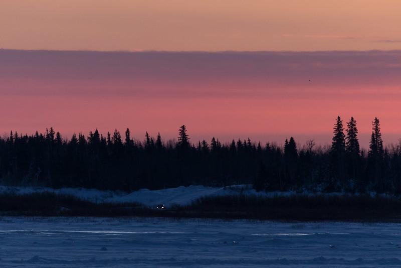 Looking across the Moose River from Moosonee around sunset.