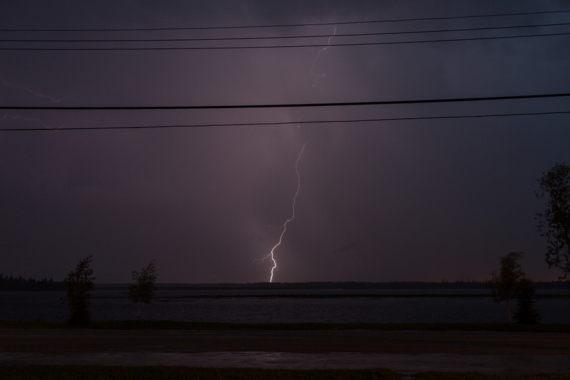 Lightning over the Moose River. Partially blocked by hydro wires.