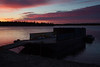 Barge anchored at Moosonee before sunrise.