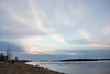 Looking down the Moose River after sunrise on a cloudy morning.