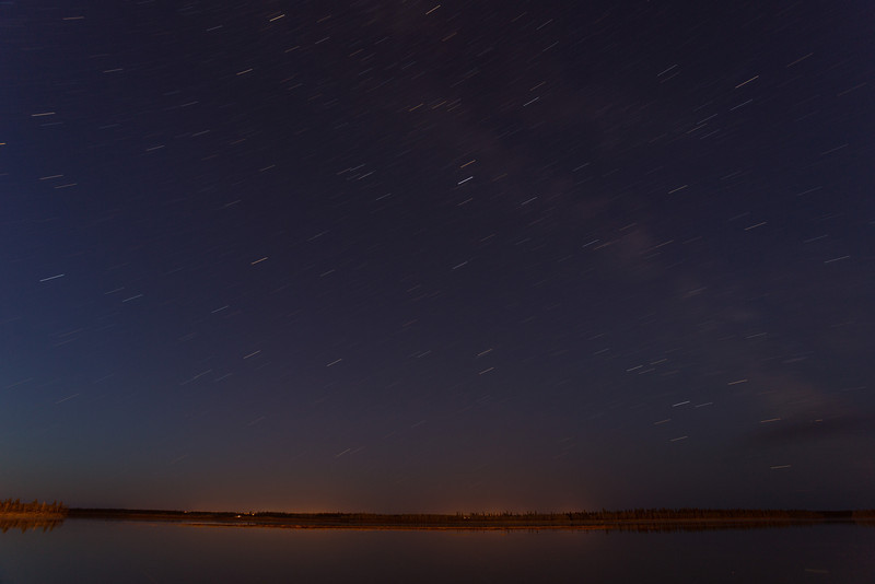 Night time looking across the Moose River. Stars show up as moderately long lines in eight minute exposure.