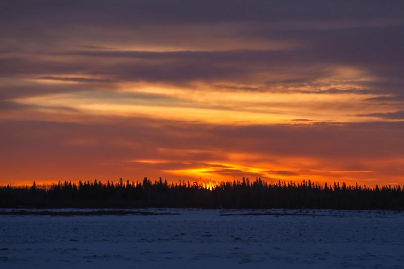 Looking across the Moose River at sunrise from Moosonee.