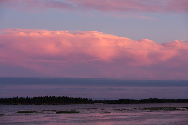 Looking up the Moose River around sunset at Moosonee.