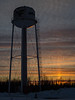 Moosonee water tower at sunset.