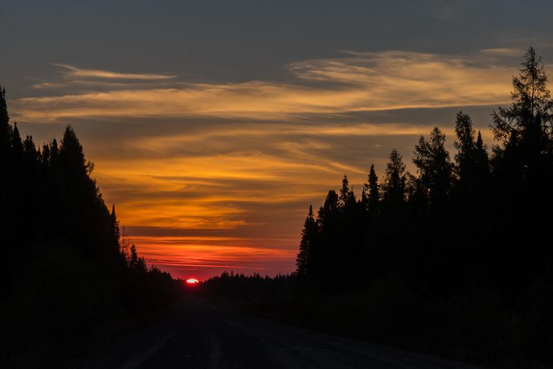 Sunrise east of Cochrane, Ontario.