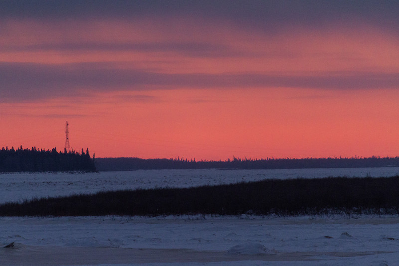 View up the Moose River after sunset from Moosonee.