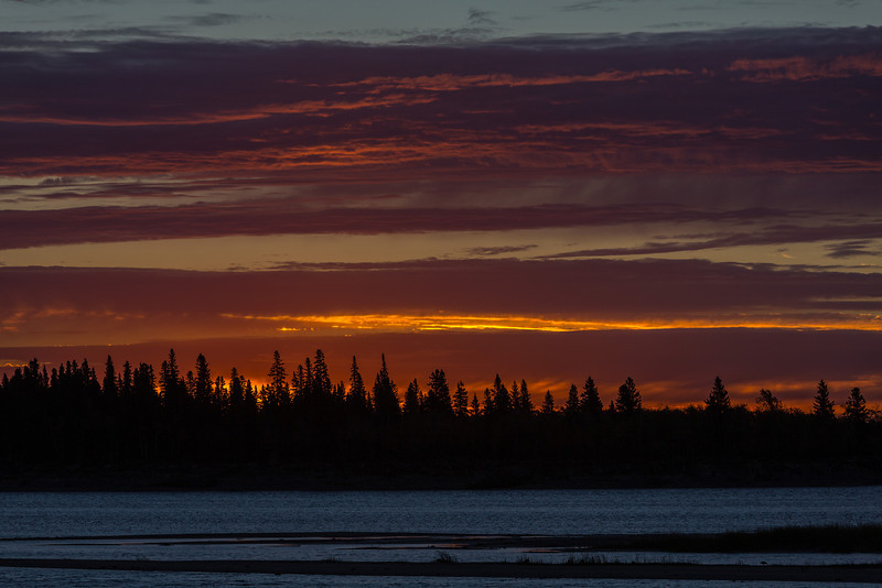 Skies over the Moose River before sunrise at Mosonee.