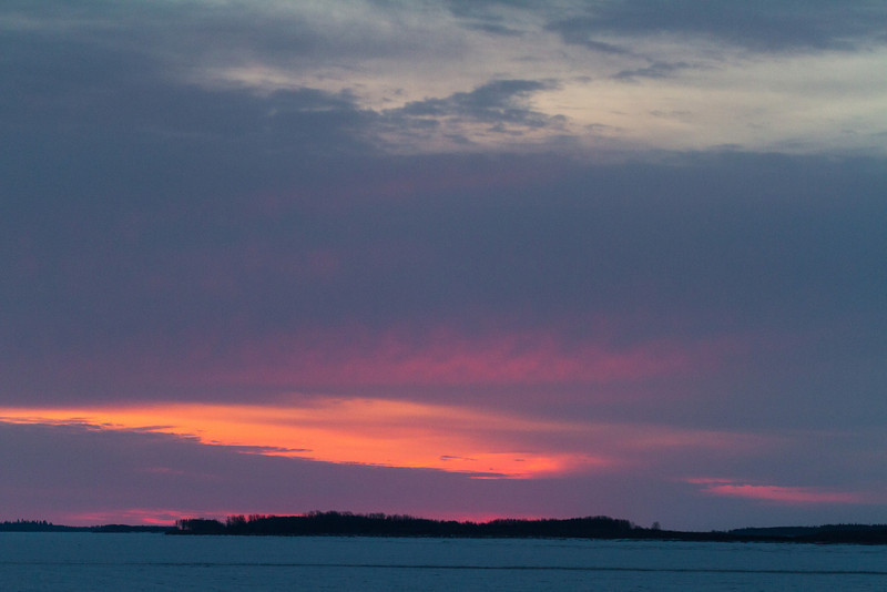 Sky before sunrise looking down the Moose River from Moosonee 2014 April 26th.