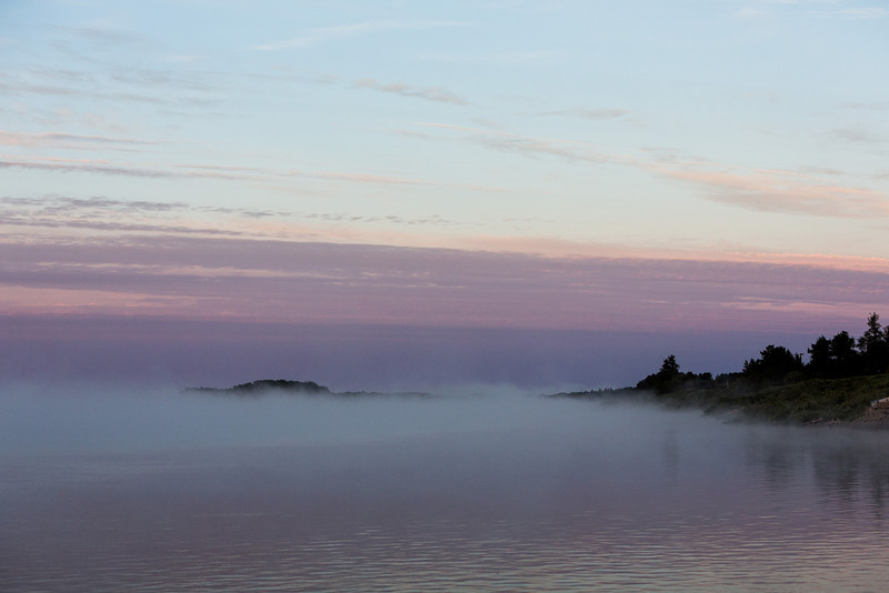 Looking up the Moose River after sunrise on a foggy morning.