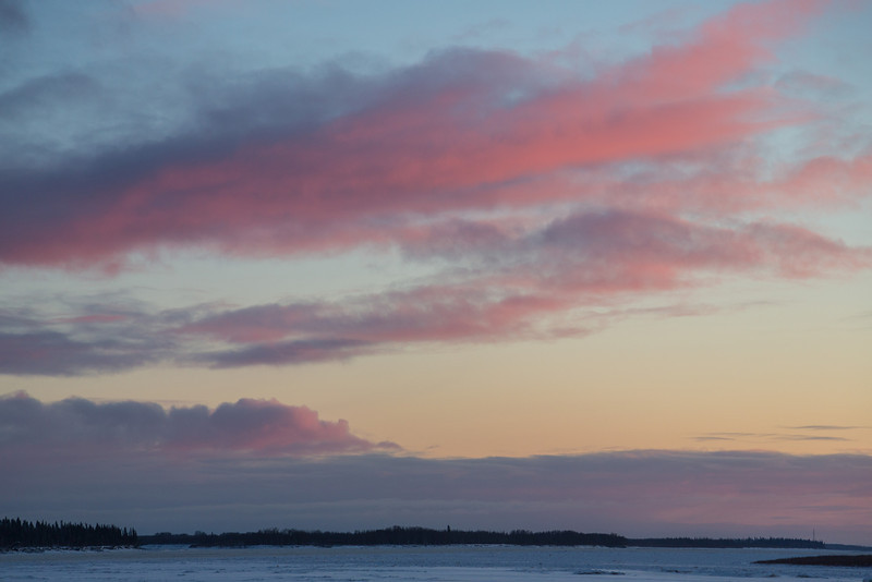 Sunset over the Moose River at Moosonee looking up river (Southeast).