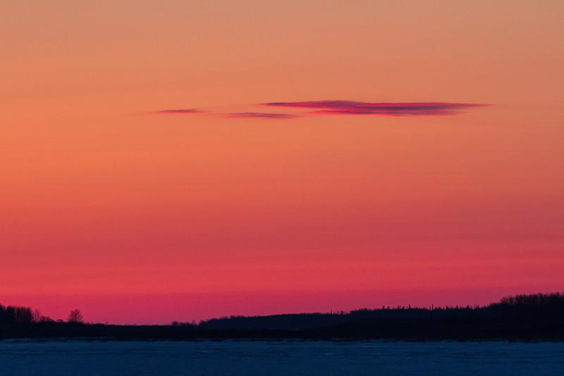 Sky before sunrise, looking down the Moose River from Moosonee.