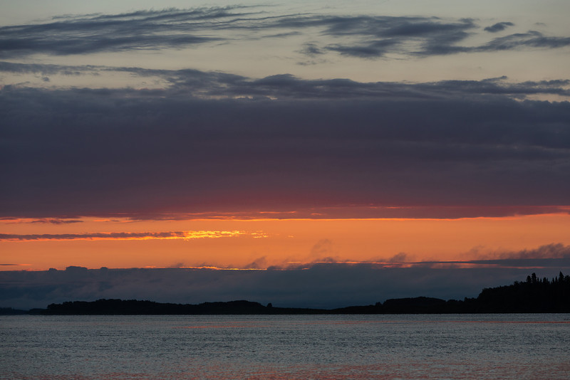 Clouds down the Moose River around sunrise.