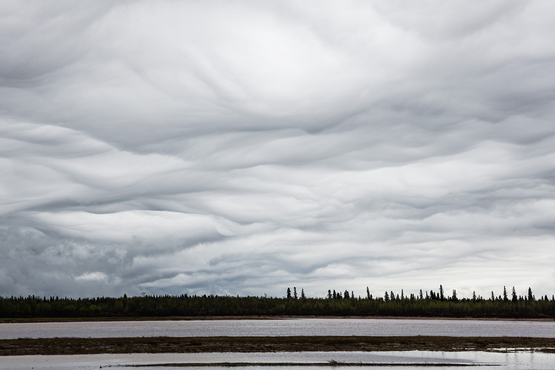 Mammatus clouds over the Moose River at Moosonee, Ontario after an afternoon storm.