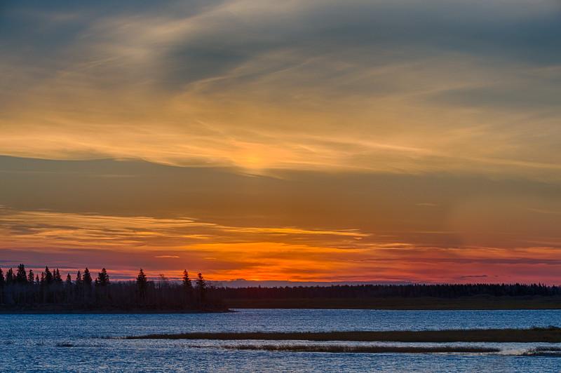 Sky before sunrise across the Moose River from Moosonee. HDR Efx balanced.
