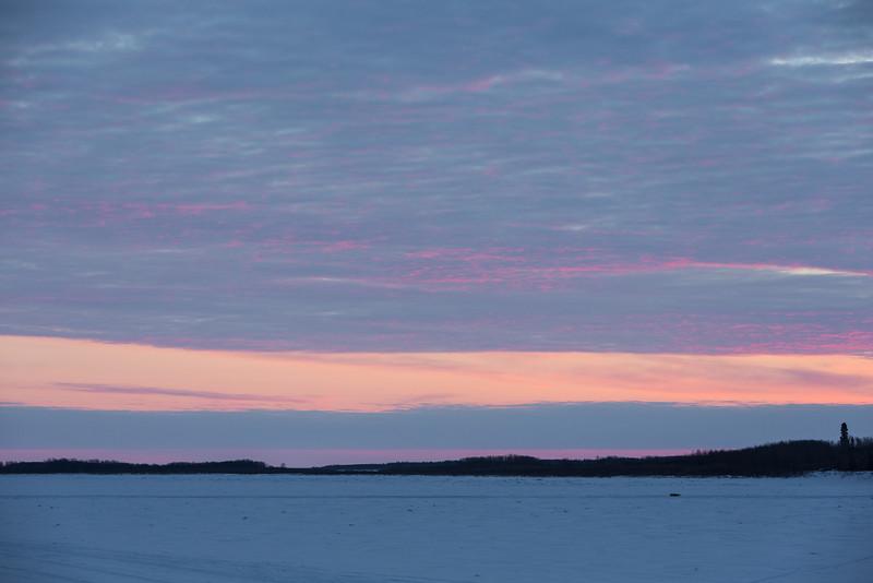 Sunrise over the Moose River at Moosonee. Looking down river.