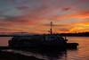 Tug Nelson River an barge at Moosonee before sunrise.