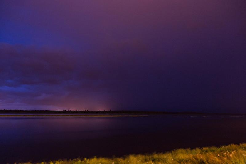 Lightning over the Moose River at Moosonee.