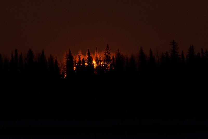 Surnise across the Moose River from Moosonee. Darker exposure.