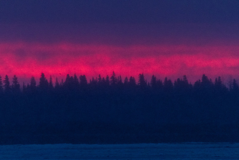Before sunset, a bit of colour above the trees across the Moose River from Moosonee.