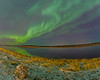 Aurora Borealis or Northern Lights over Moosonee and the Moose River. Fake oil painting.