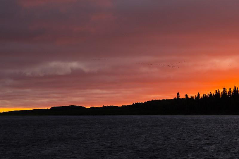 Sky before sunrise at Moosonee looking across the Moose River.