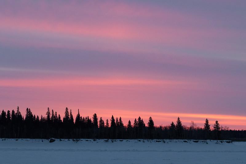 Sky before sunrise across the Moose River from Moosonee.