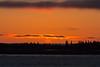 Sky before sunrise above Moose Factrory Island across the Moose River from Moosonee.