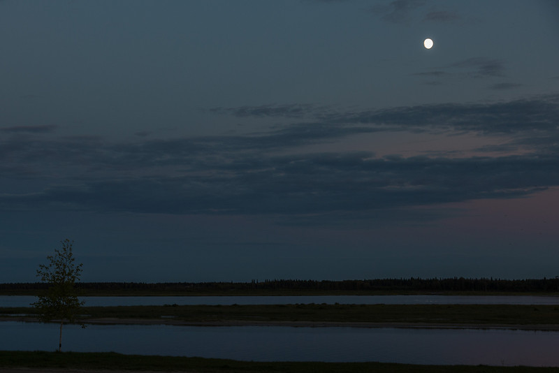 Moon over the Moose River after sunset.