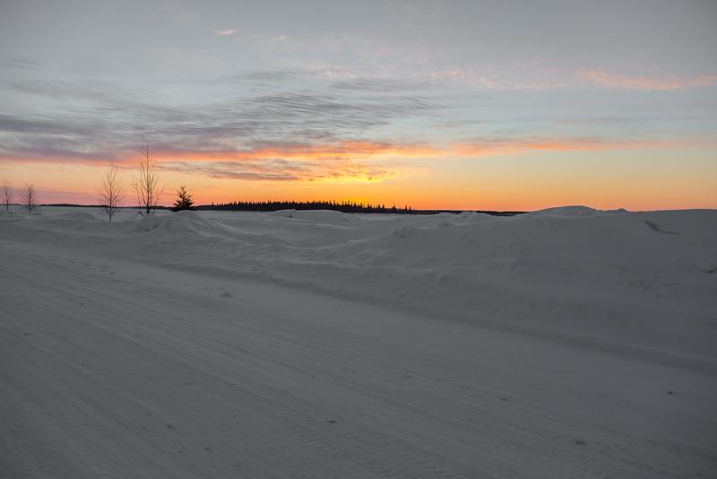 Revillon Road in Moosonee at sunrise.