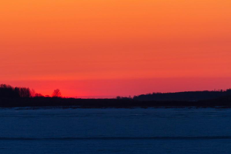 Sky before sunrise down the Moose River from Moosonee.