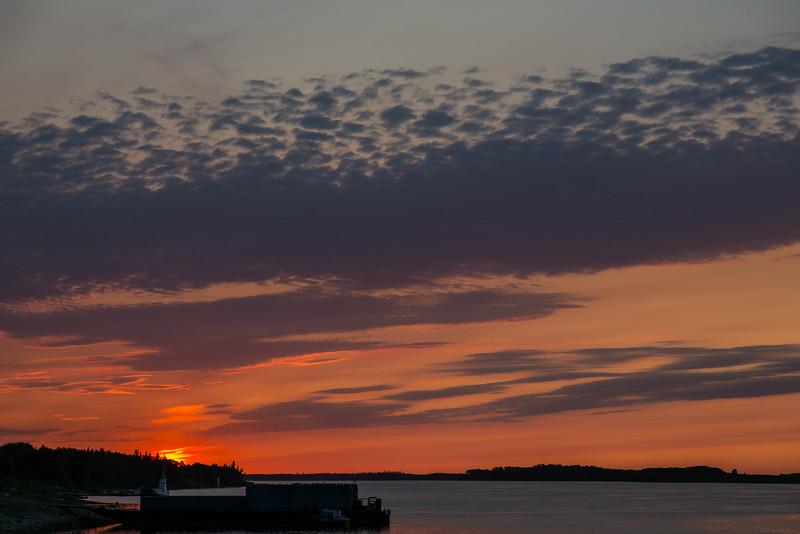 Sunrise at Moosonee, looking down the Moose River.