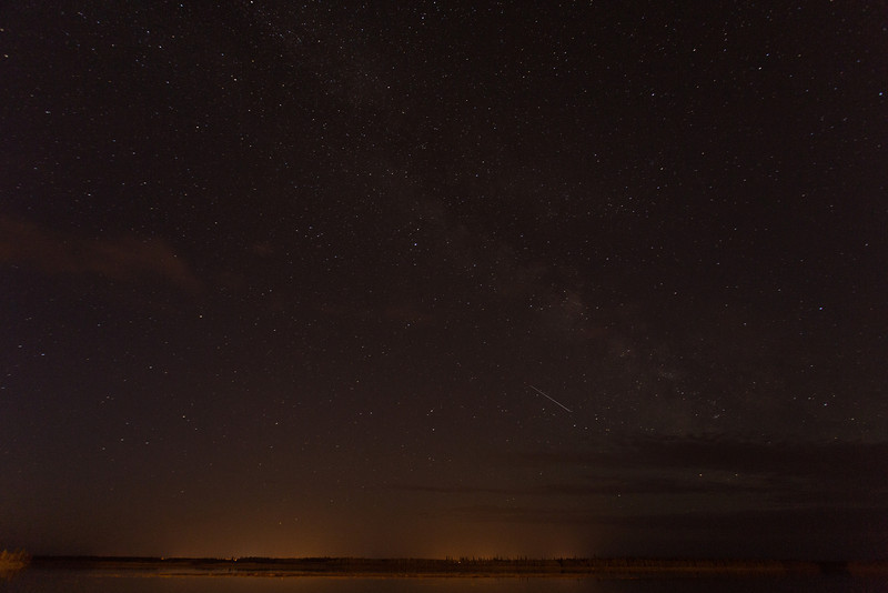 Night sky over Moose Factory from Moosonee.