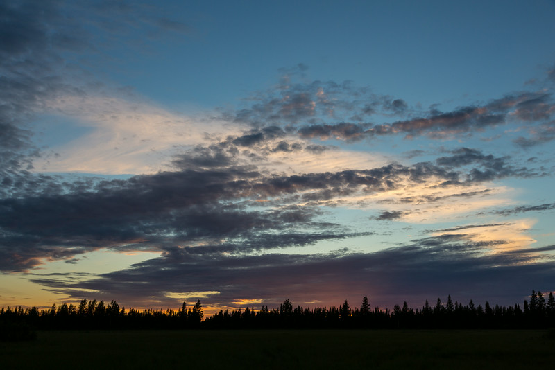 Sunset from the end of Butcher Street in Moosonee.