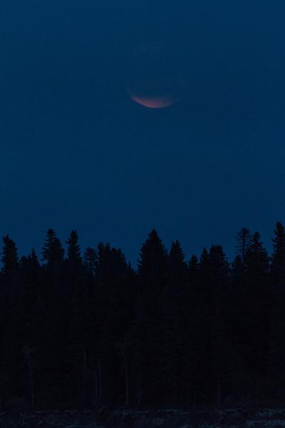 Moon rising in cloudy skies over Butler Island in the Moose River at Moosonee.