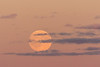 Rising moon behind thin clouds.