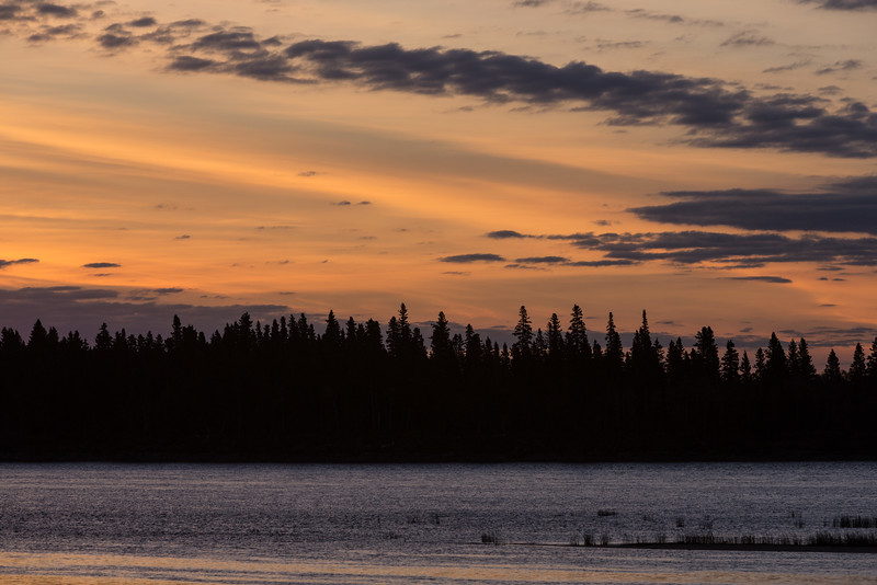 Sky before sunrise looking across the Moose River from Moosonee towards Butler Island.