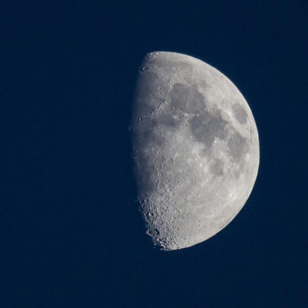 Half a moon in the sky over Moosonee.