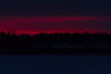 Thin bands of pink low above the horizon. Looking across the Moose River from Moosonee before sunrise.