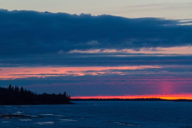 Moosonee: looking down the Moose River before sunrise.