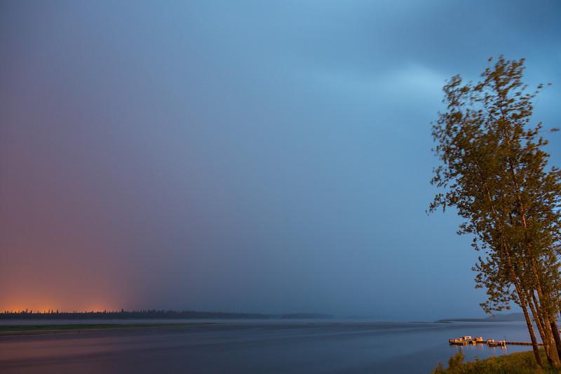 Storm across the Moose River tonight. Rain coming fast.