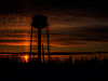 Moosonee water tower at sunset.  2014 March 20. Double layered combined with multiply.