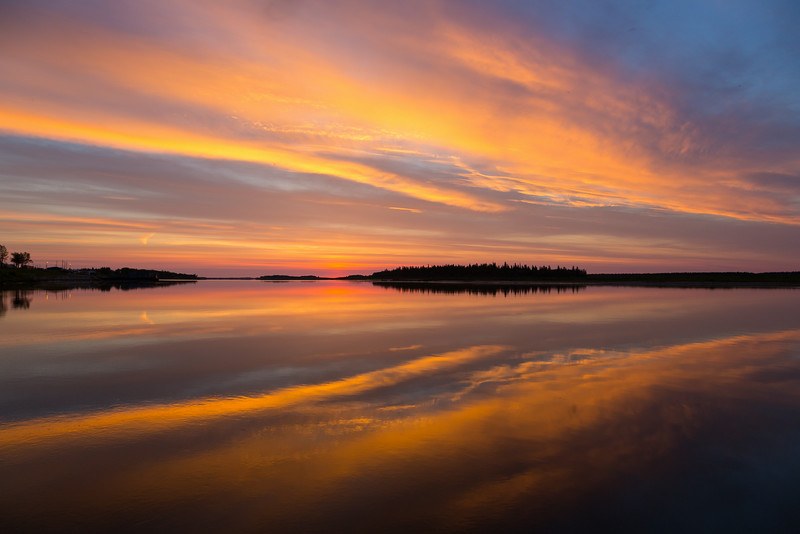 Sky before sunrise on the Moose River at Moosonee.