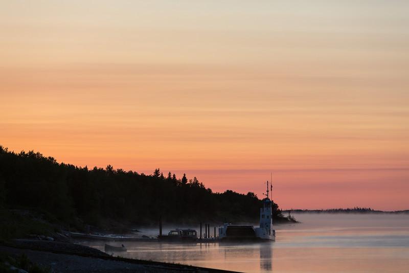 Looking down the Moose River at Moosonee before dawn.