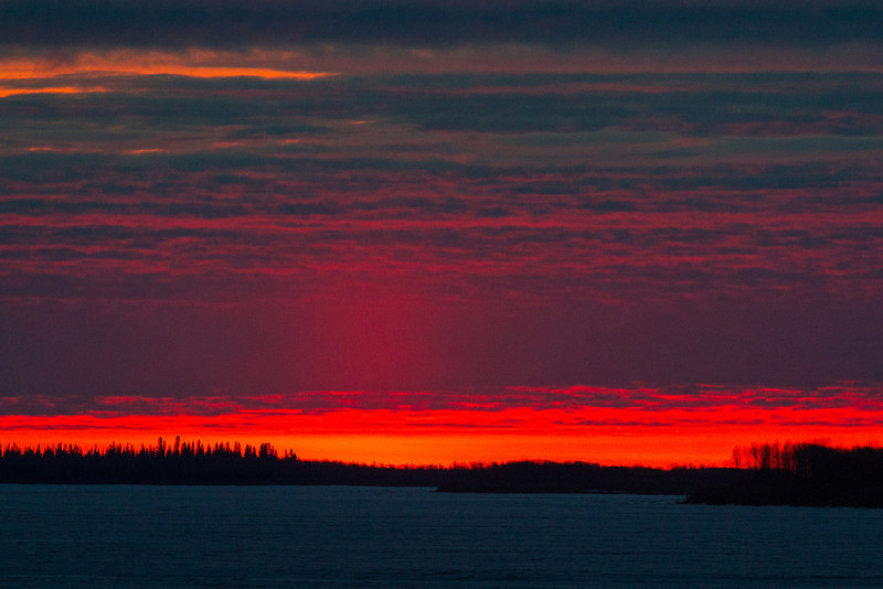 Looking down the Moose River at Moosonee just before sunrise.