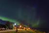 Aurora borealis over the streets of Moosonee.