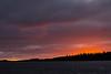 Sky before sunrise at Moosonee looking across the Moose River. Two flocks of geese.