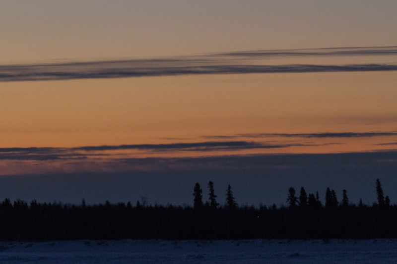 View across the Moose River from Moosonee before sunrise.