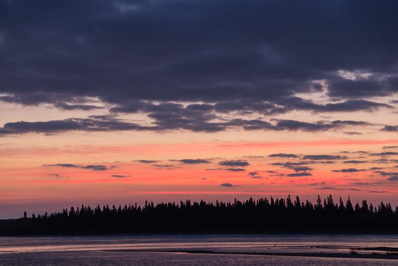 Sky over the Moose River at Moosonee before sunrise.